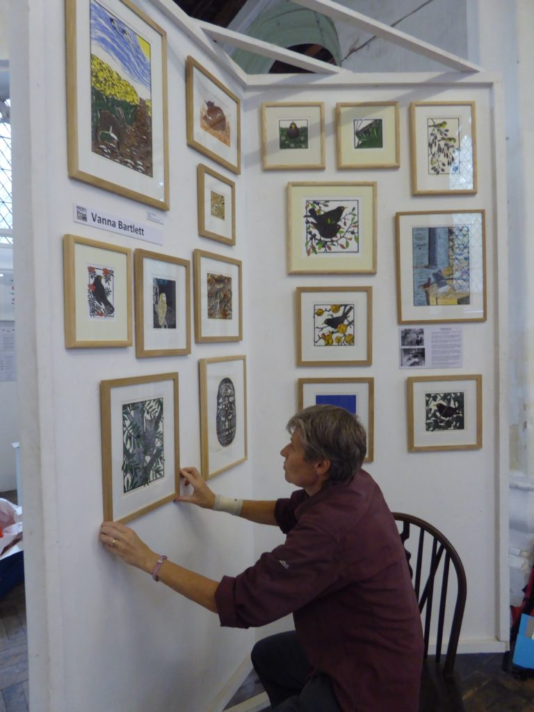 Hanging my pictures at Norwich Print Fair